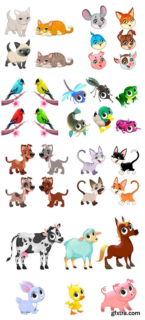 Group of cute animals 7X EPS
