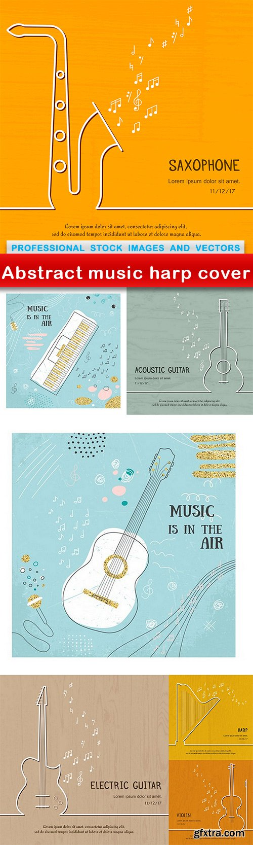 Abstract music harp cover - 7 EPS