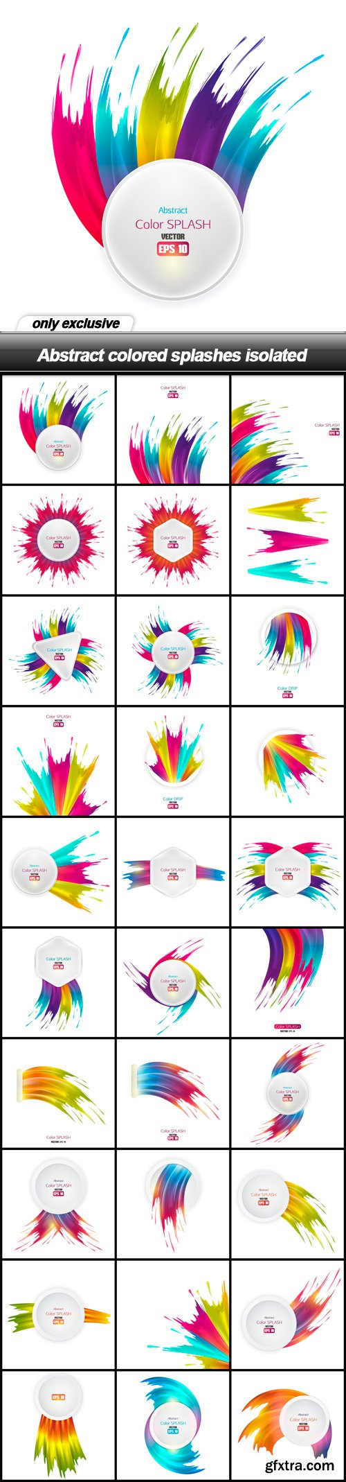 Abstract colored splashes isolated - 30 EPS