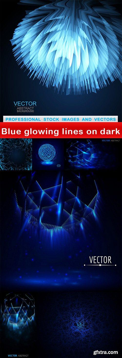 Blue glowing lines on dark - 7 EPS