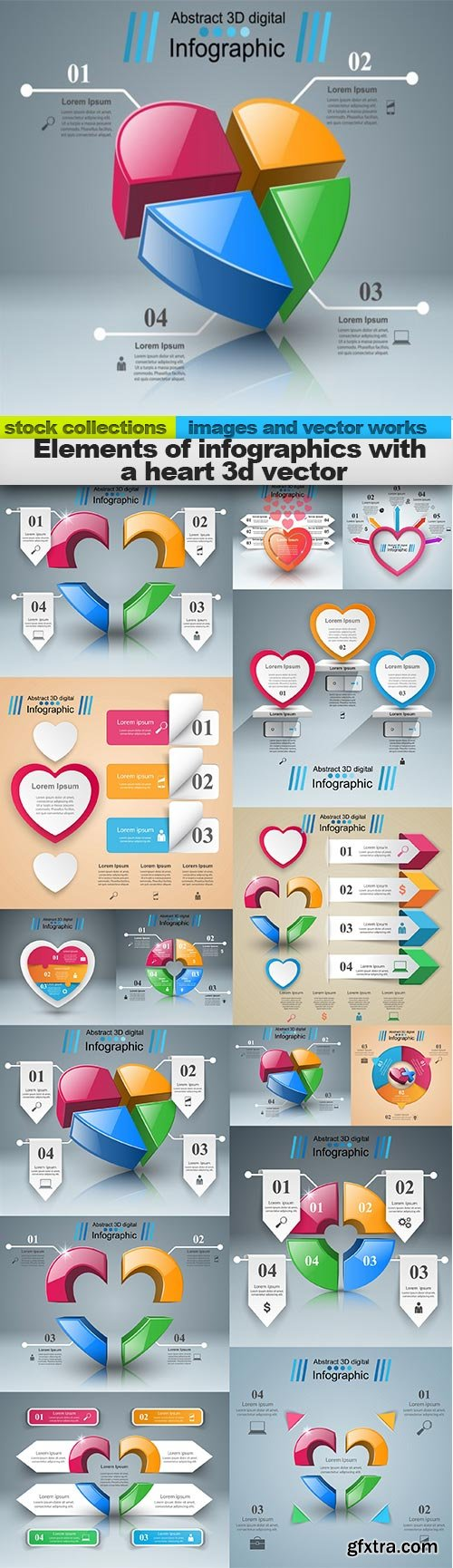 Elements of infographics with a heart 3d vector, 15 x EPS