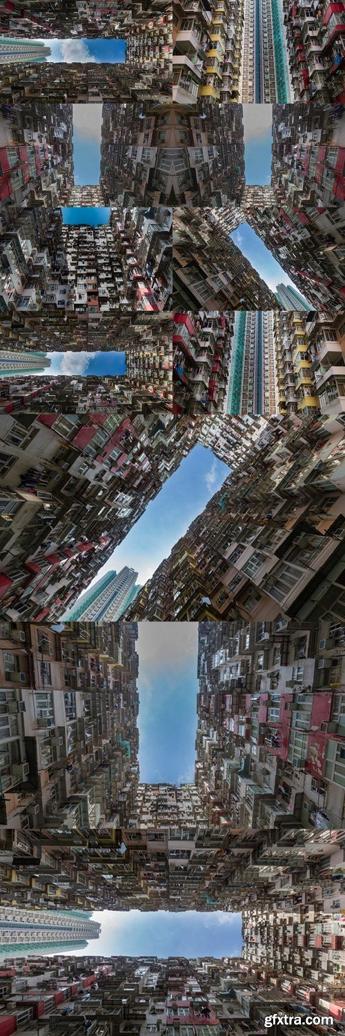 Hong Kong city apartment from bottom view, cityscape downtown