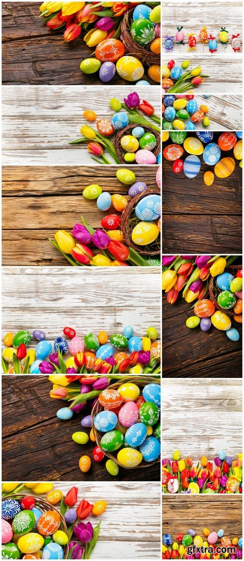 Easter eggs and tulips on wooden background 13X JPEG