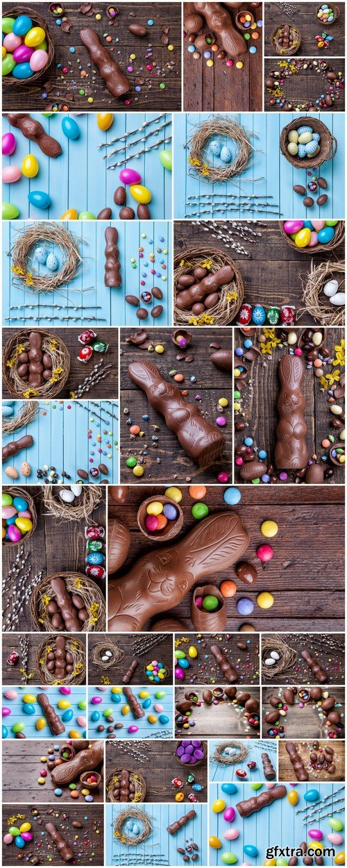 Chocolate easter eggs and sweets on wooden background 29X JPEG