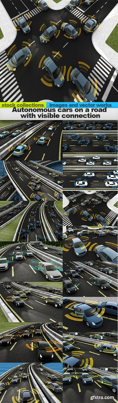Autonomous cars on a road with visible connection, 15 x UHQ JPEG