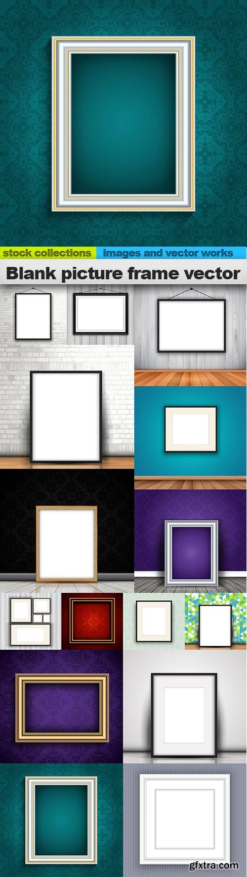 Blank picture frame vector, 15 x EPS