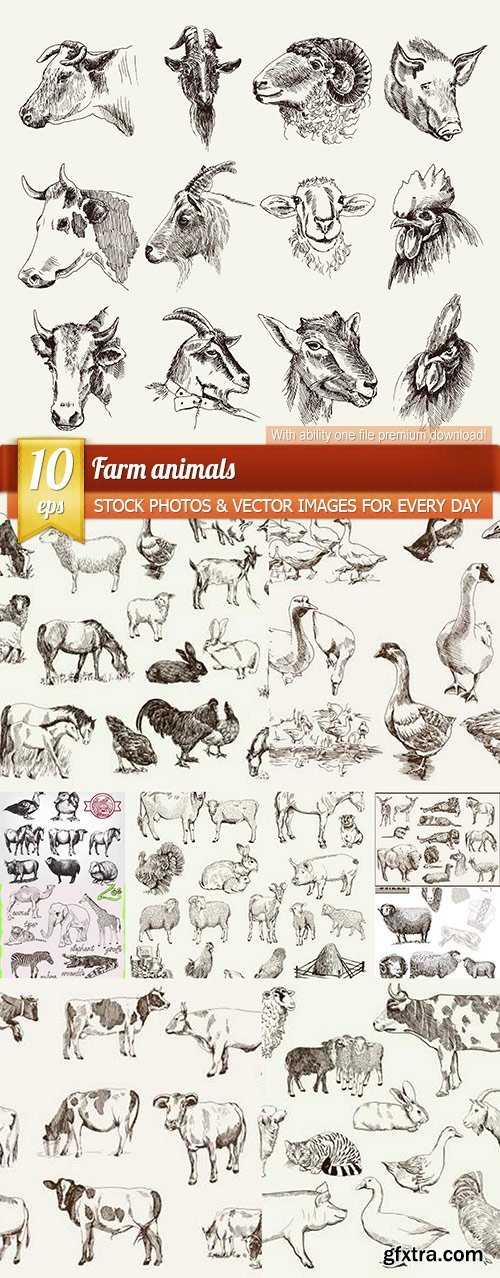 Farm animals, 10 x EPS