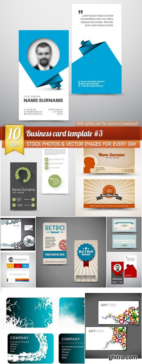 Business card template #3, 10 x EPS