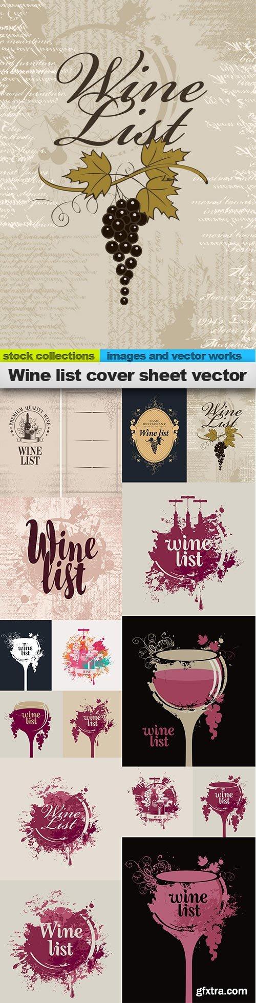 Wine list cover sheet vector, 15 x EPS