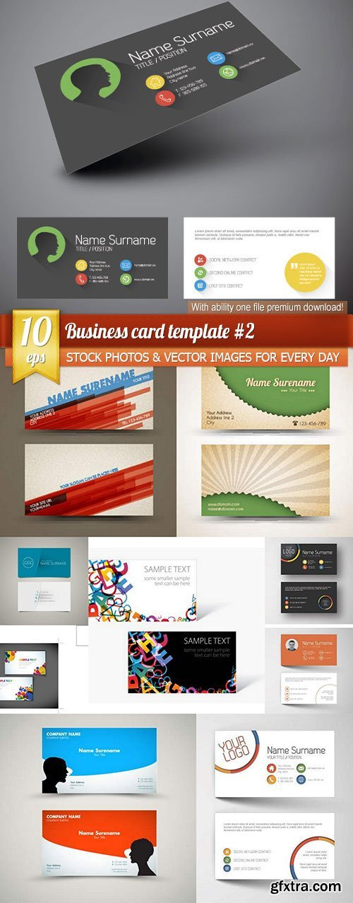 Business card template #2, 10 x EPS