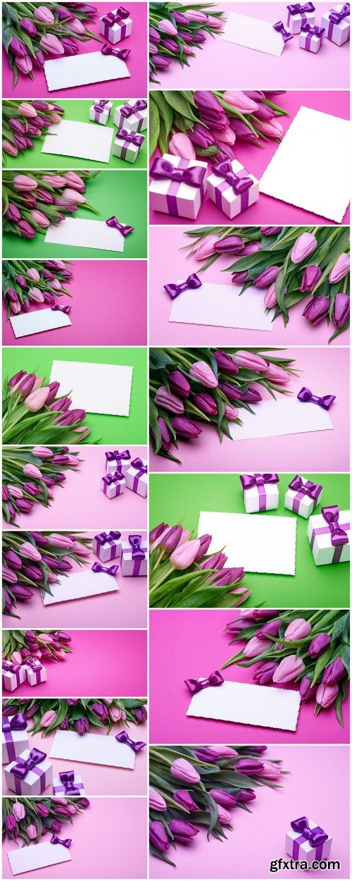 Beautiful tulips and greeting card 17X JPEG