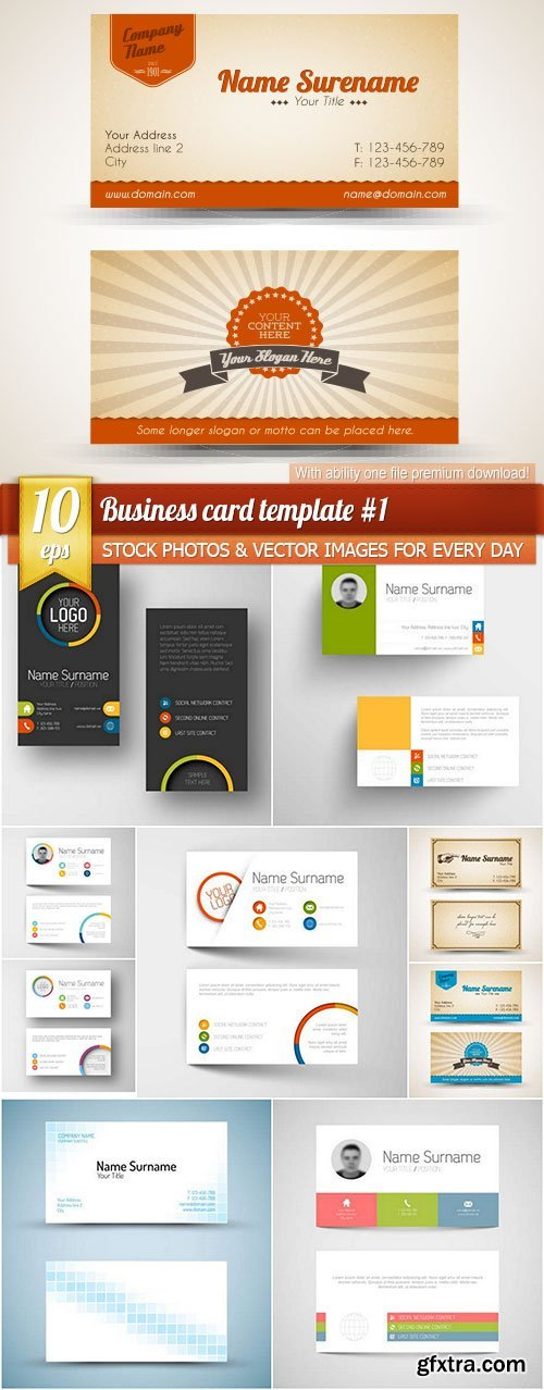 Business card template #1, 10 x EPS