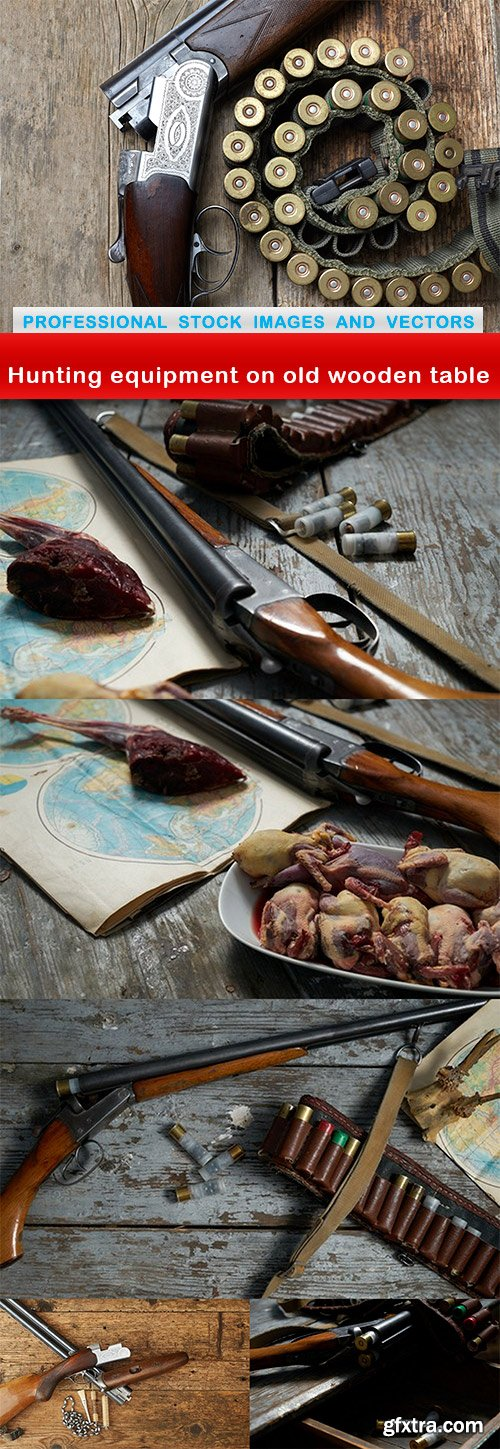Hunting equipment on old wooden table - 6 UHQ JPEG