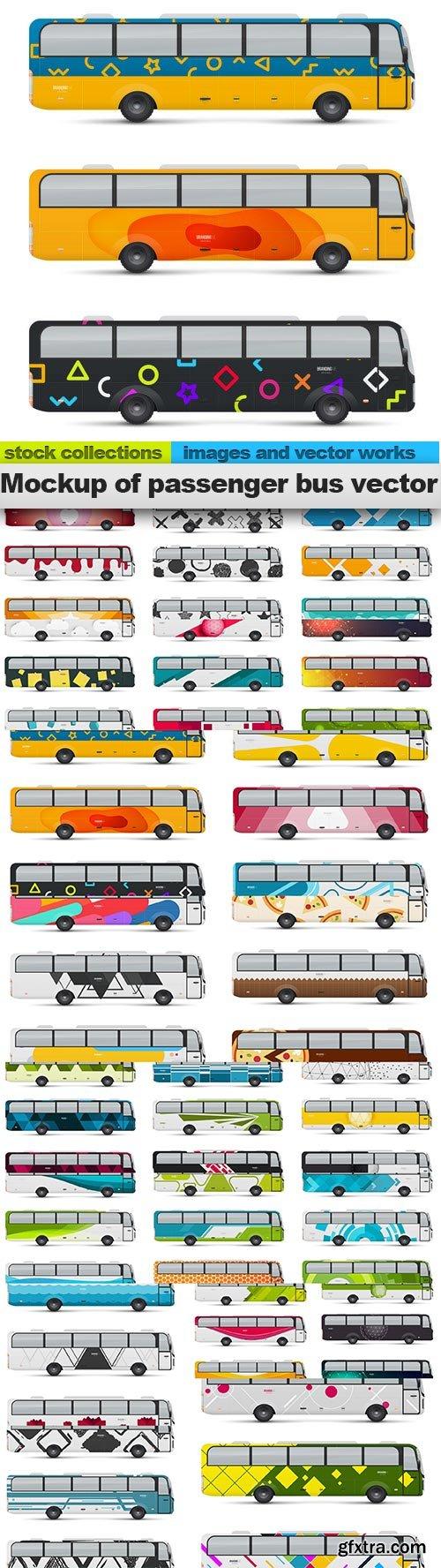 Mockup of passenger bus vector, 21 x EPS