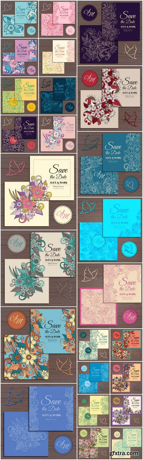 Floral Wedding Card Template #2 - 25 Vector