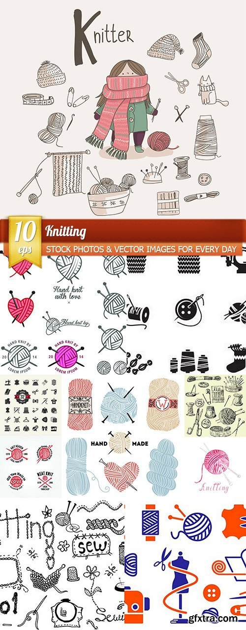 Knitting, 10 x EPS