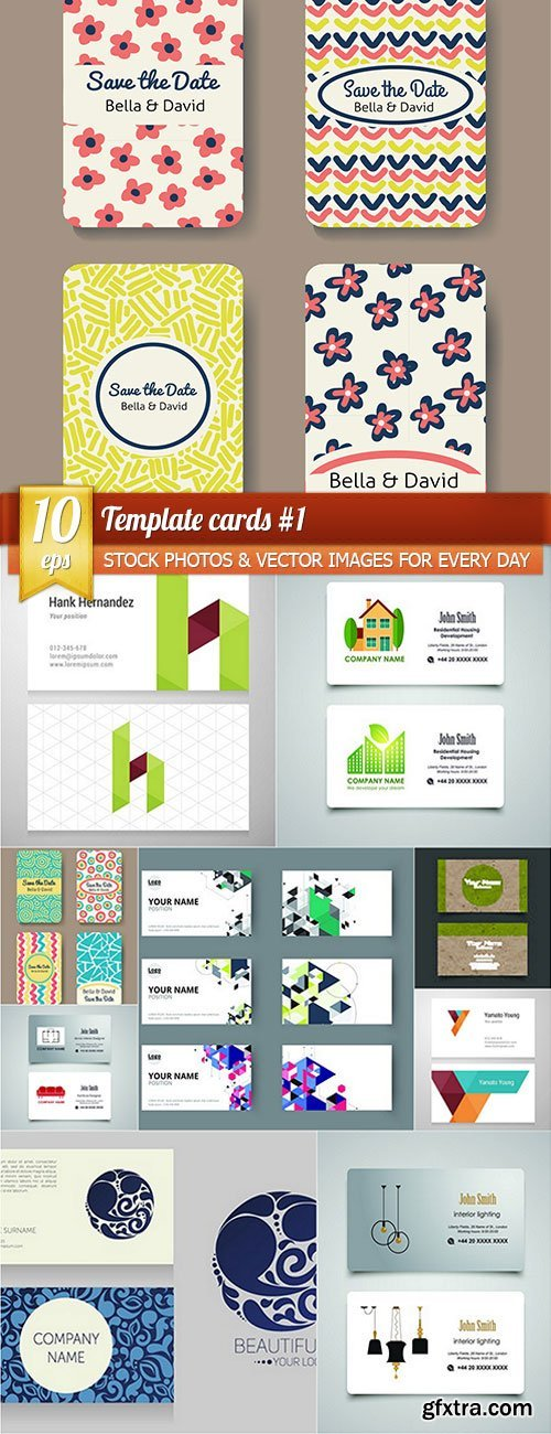 Template cards 1, 10 x EPS