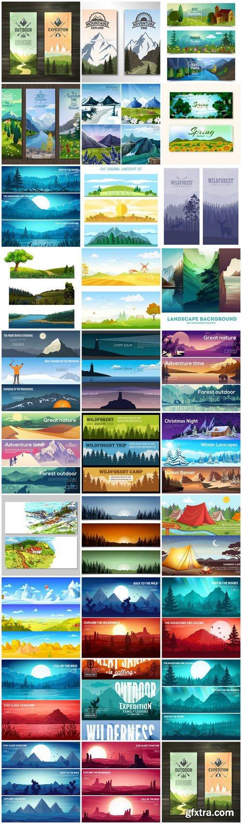 Nature Landscape Banners - 30 Vector