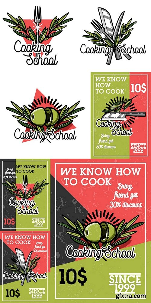 Color vintage cooking school banner