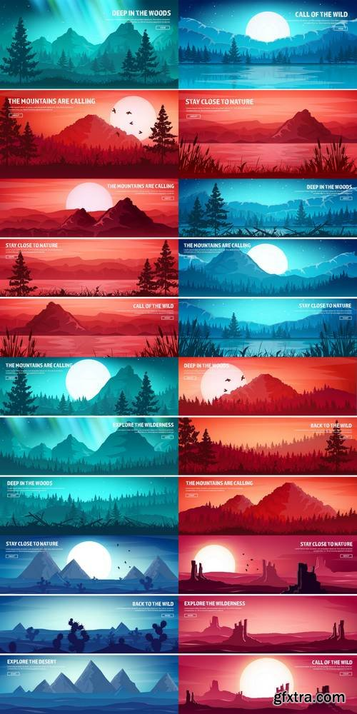 Wild Nature Landscape - Extreme Tourism and Travelling Banners