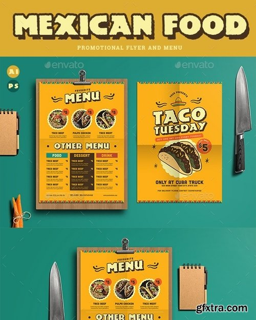 GraphicRiver - Mexican Food Menu+ Promotional Flyer 19346839
