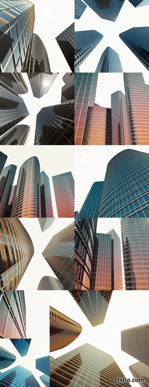 Bottom view of modern skyscrapers in business district in evening light at sunset. Industrial architecture, business construction and estate financial concept. 3d rendering 2