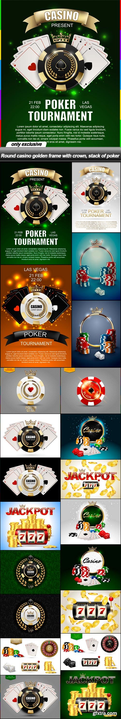 Round casino golden frame with crown, stack of poker - 21 EPS