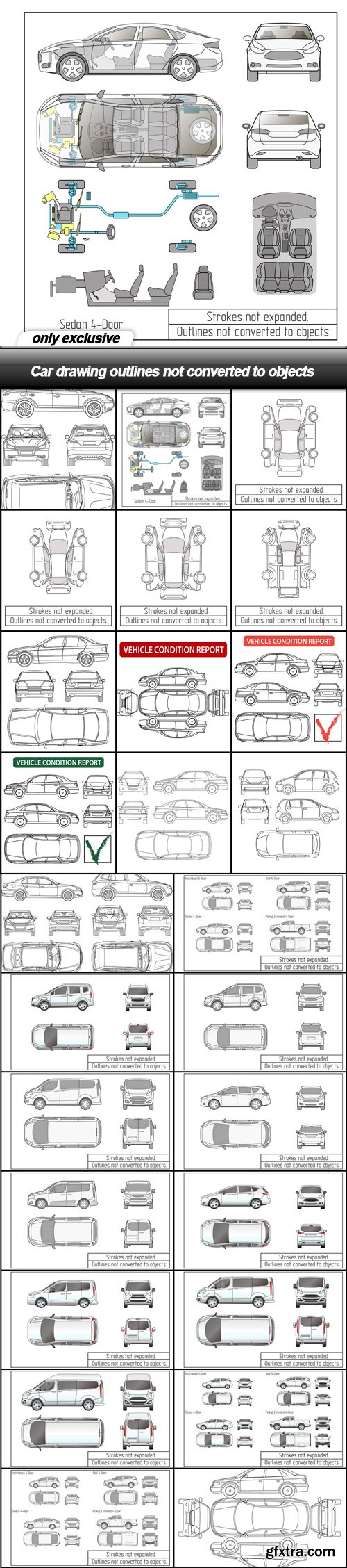 Car drawing outlines not converted to objects - 26 EPS