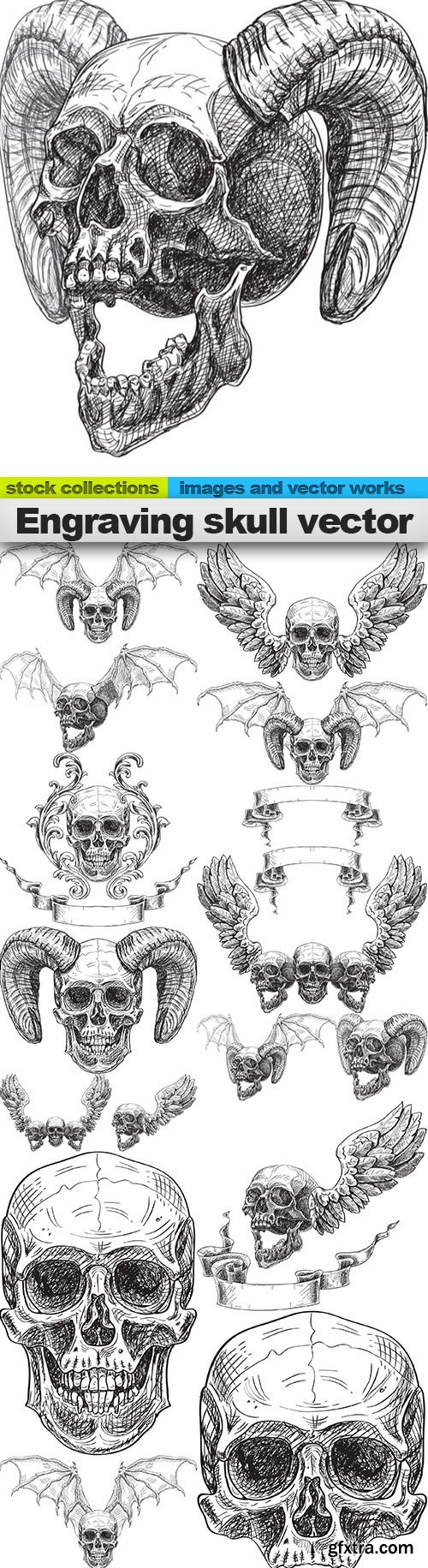 Engraving skull vector, 15 x EPS