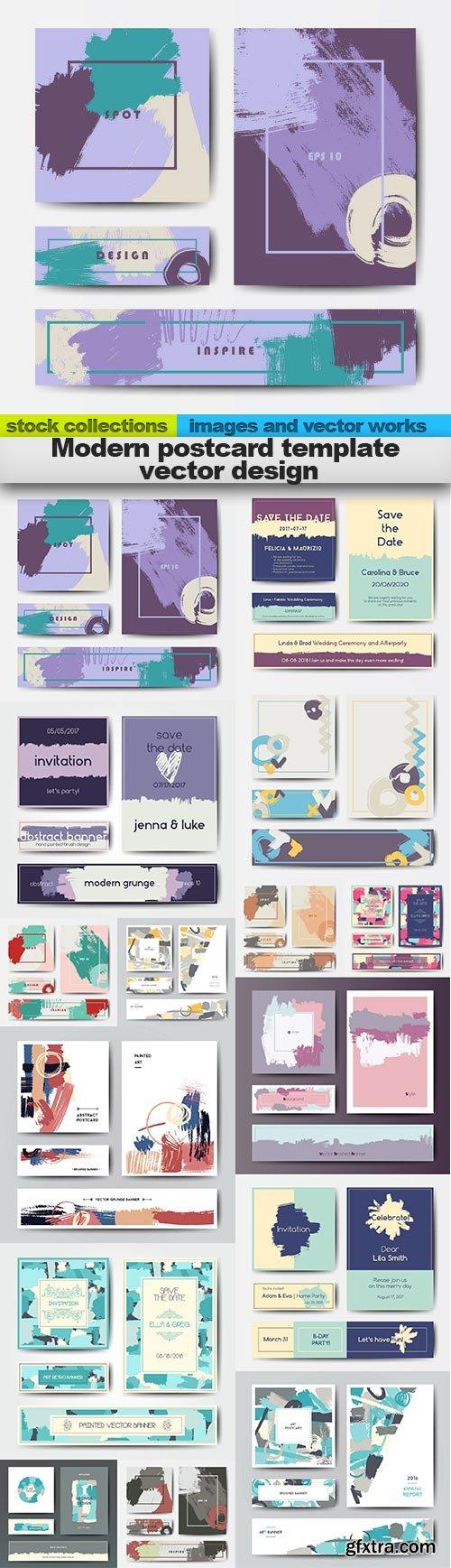 Modern postcard template vector design, 15 x EPS