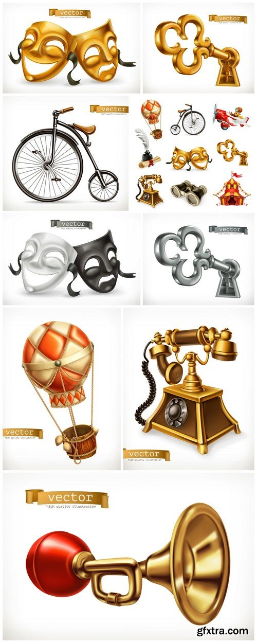 Old objects Vintage icon set, 3d vector 9X EPS