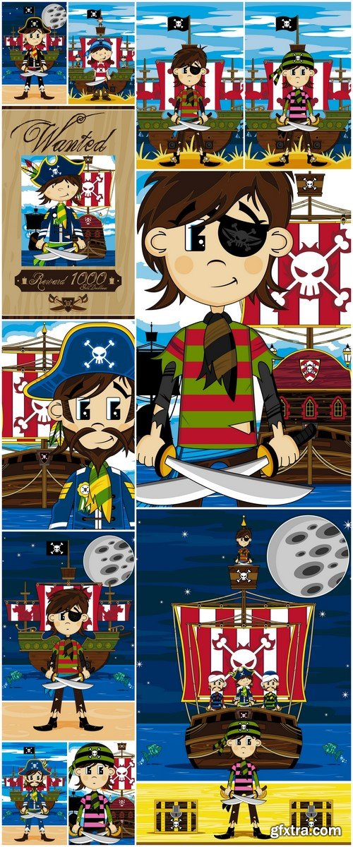 Captain Pirate and Ship 11X EPS