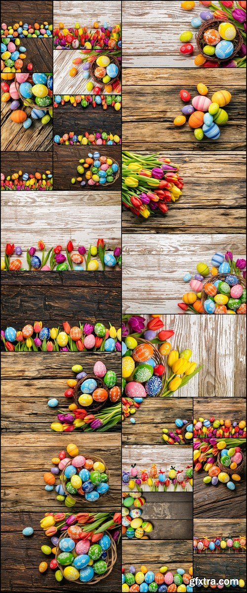 Easter eggs and tulips on wooden planks 26X JPEG