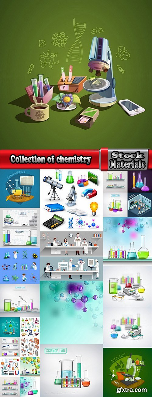 Collection of chemistry laboratory study icon flyer banner vector image 25 EPS
