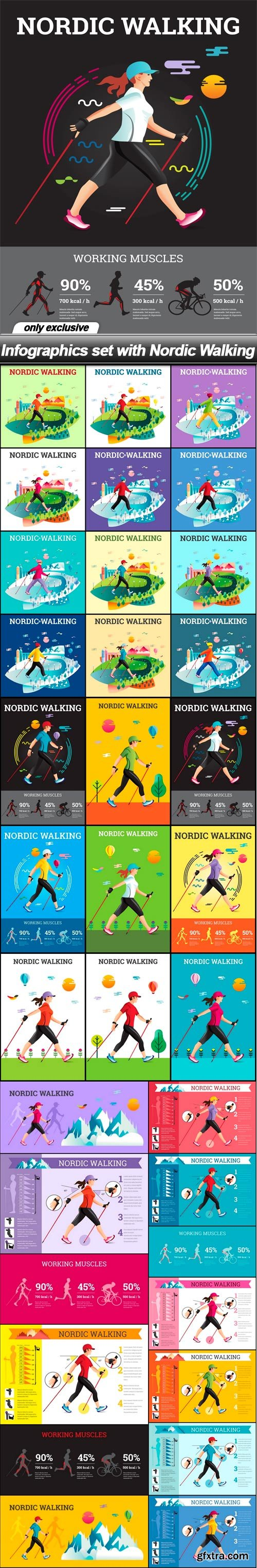 Infographics set with Nordic Walking - 34 EPS
