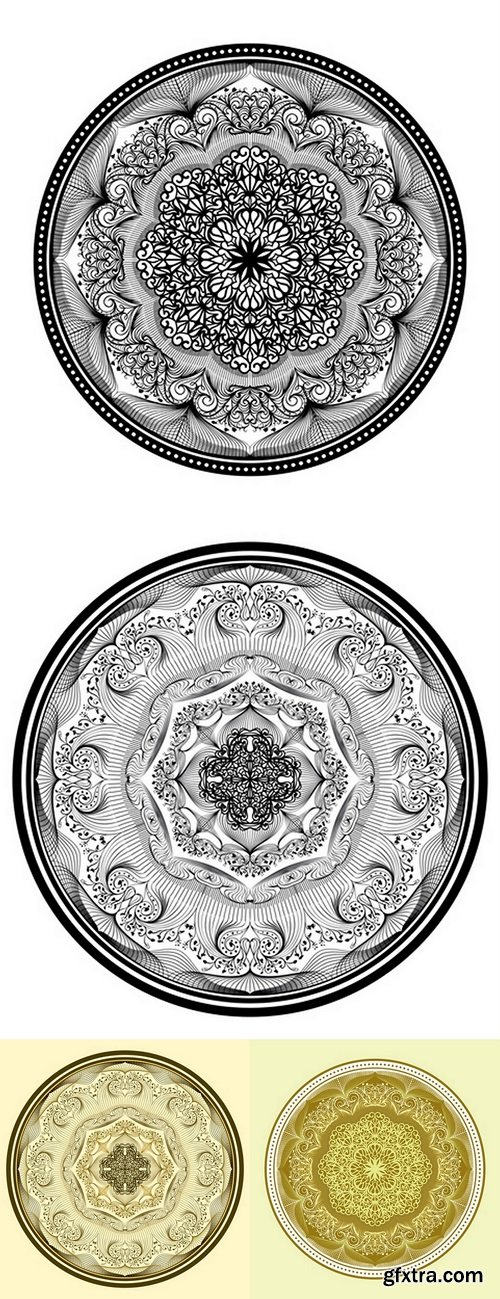 Mandala Oriental Circular Vintage Flourish Tribal Mystical Motif Pattern Decoration