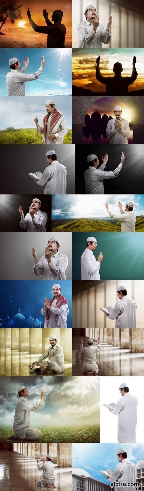 Religious muslim man praying