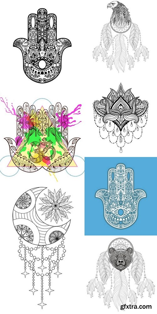 Zentangle vector Hamsa Hand for adult anti stress coloring pages
