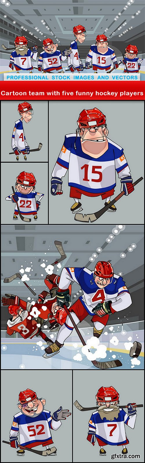 Cartoon team with five funny hockey players - 7 EPS