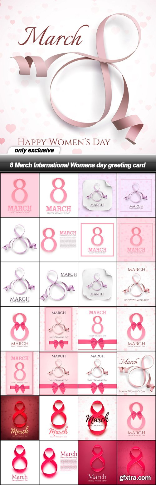 8 March International Womens day greeting card - 28 EPS
