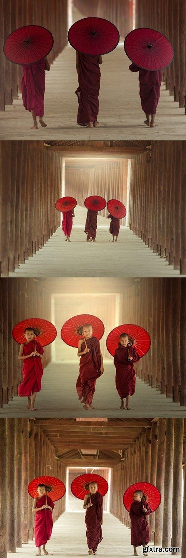 Burmaese Three novice monks walking
