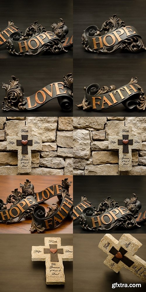 Faith Hope and Love Copper Scroll Decor