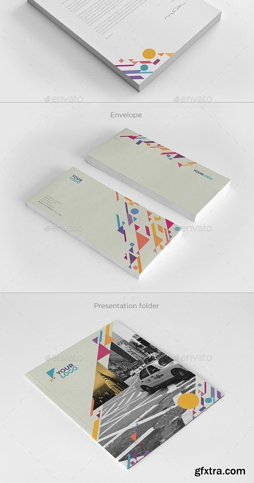GraphicRiver - Colorful Shapes Stationery 9797975