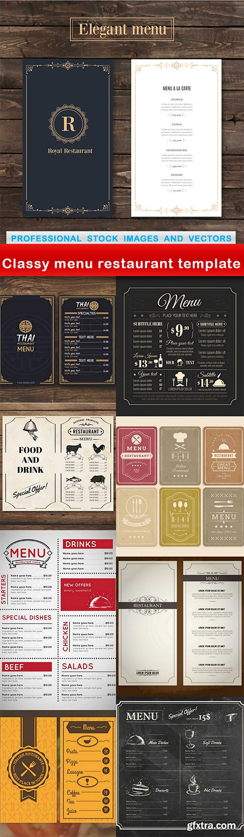 Classy menu restaurant template - 9 EPS