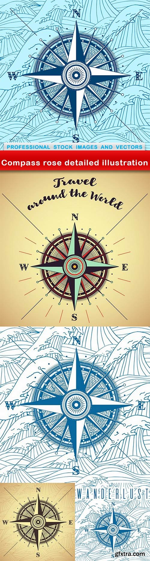 Compass rose detailed illustration - 5 EPS