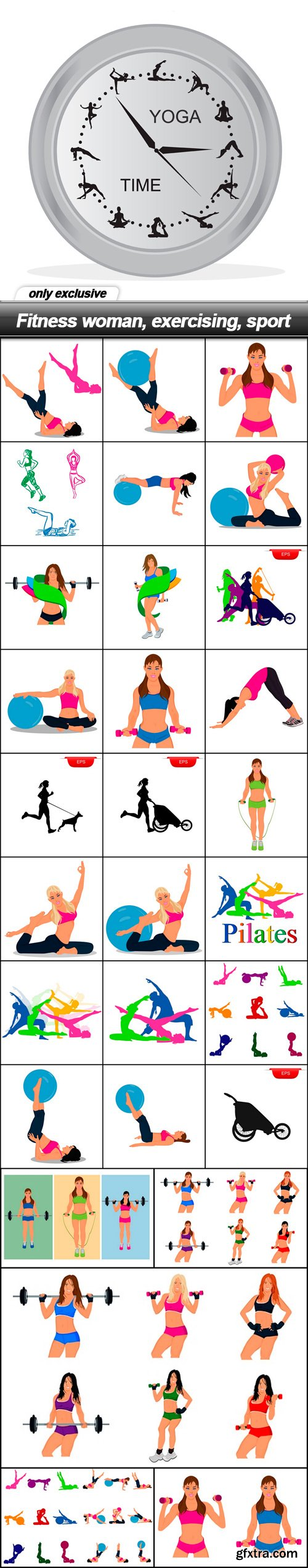 Fitness woman, exercising, sport - 30 EPS