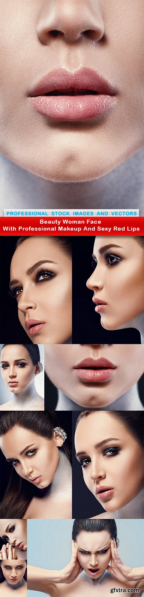 Beauty Woman Face With Professional Makeup And Sexy Red Lips - 10 UHQ JPEG