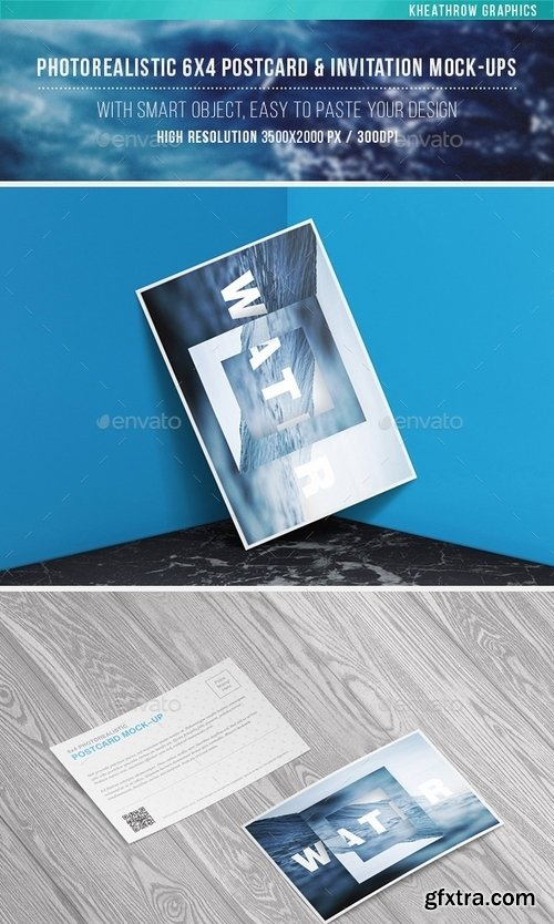 GraphicRiver - Photorealistic 6x4 Postcard & Invitation Mock-Ups 15597544