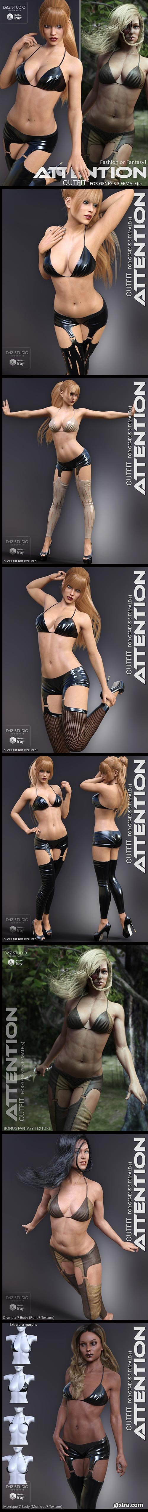 Renderosity - Attention Outfit for Genesis 3 Females 119342 DAZ3D