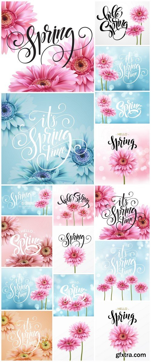 Gerbera Flower Background and Spring Lettering 17X EPS